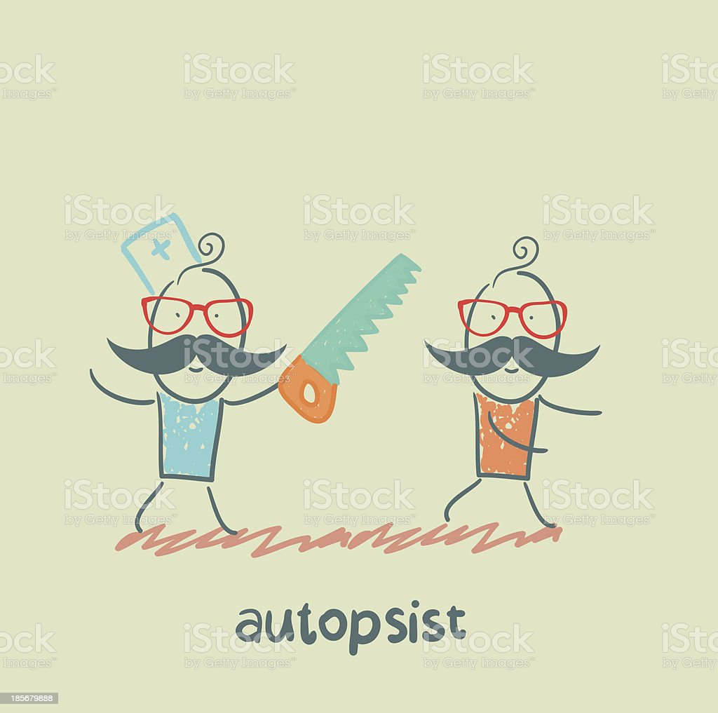 autopsist with a saw royalty-free stock vector art