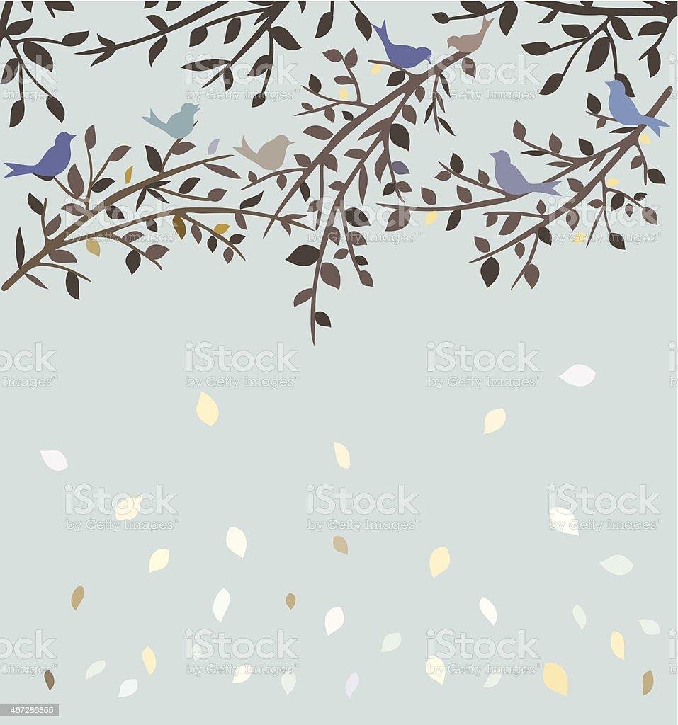 Autum tree and birds vector art illustration
