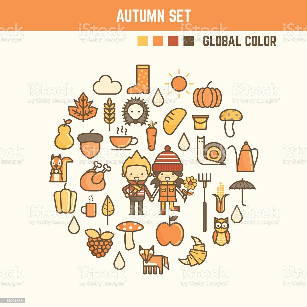 autumn and fall infographic elements vector art illustration