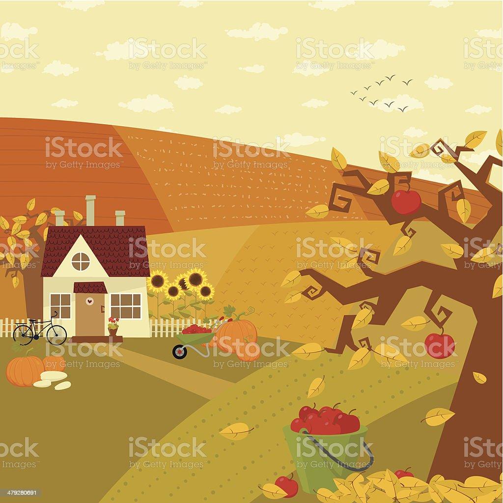 Autumn at farm vector art illustration