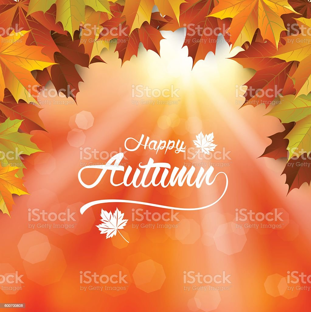 Autumn Background, Fall wallpaper, Autumn leaf vector art illustration