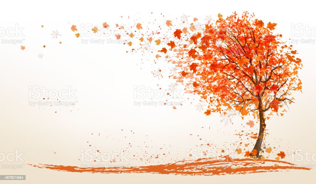 Autumn background with a tree and golden leaves. Vector. vector art illustration