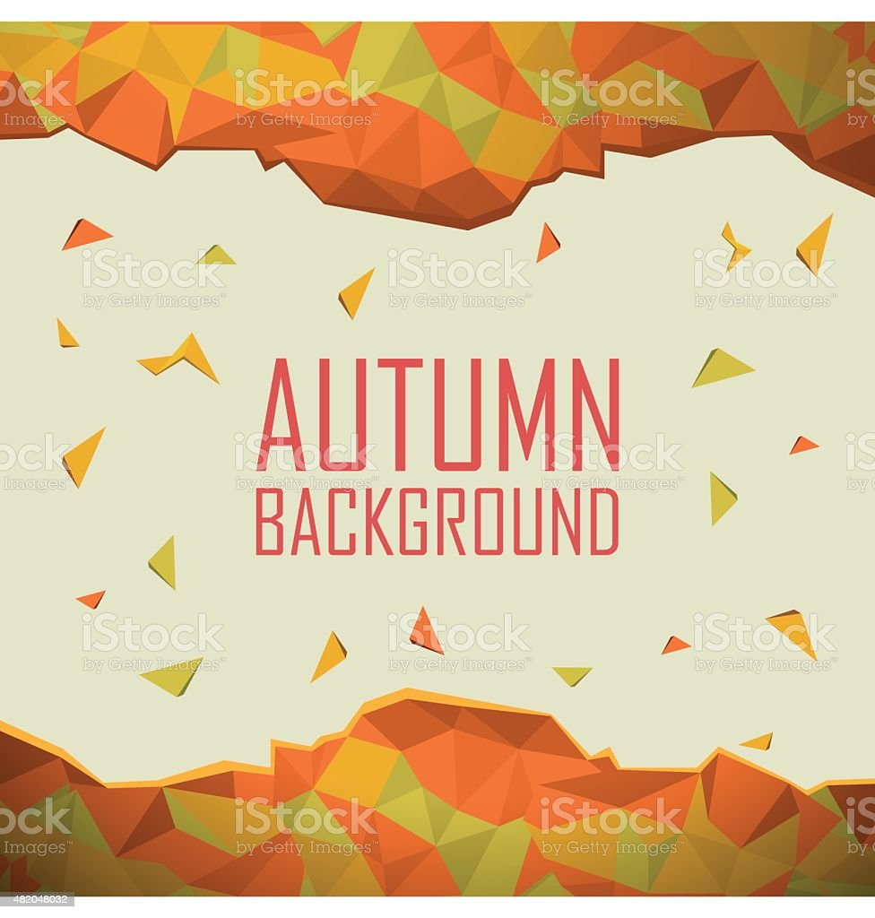 Autumn background with abstract shapes. Foliage colors of fall. Low vector art illustration
