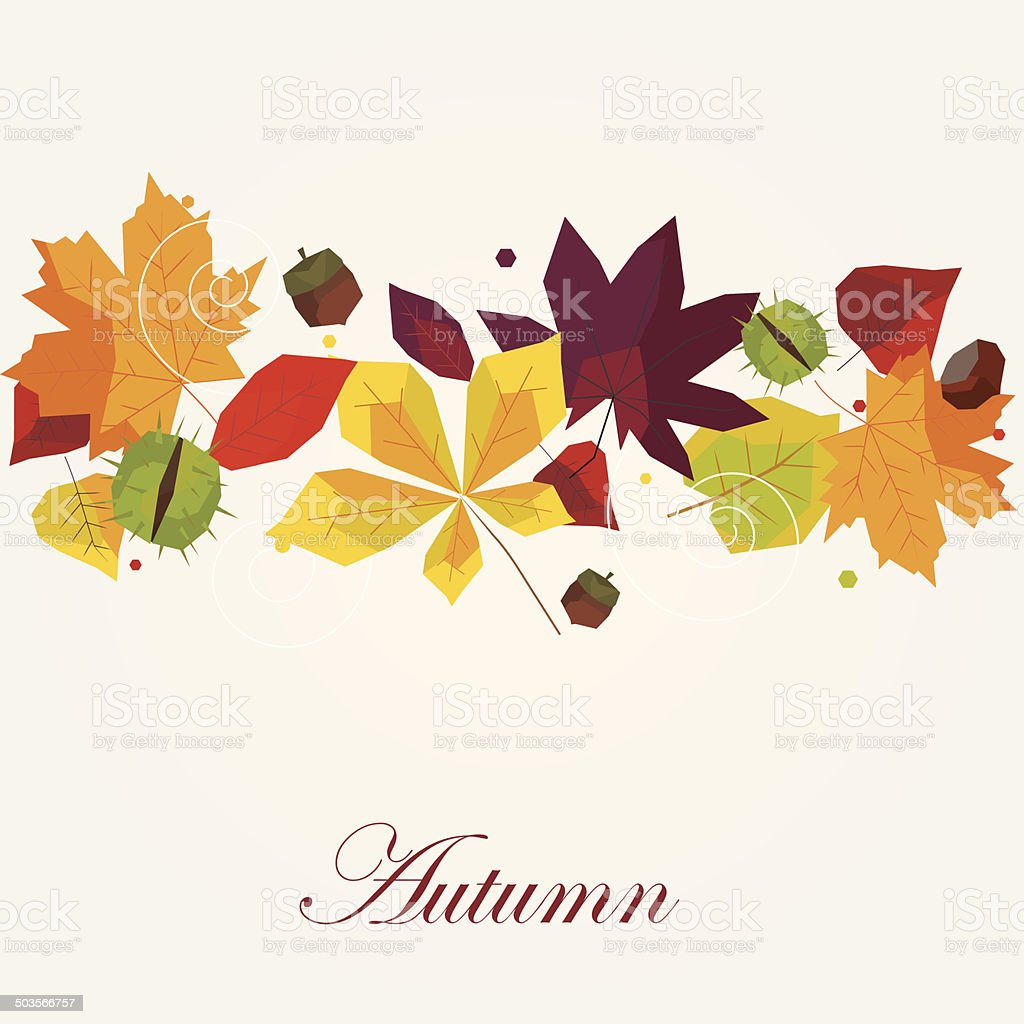 Autumn background with colorful leaves vector art illustration