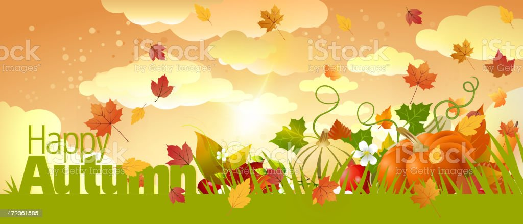 Autumn Background with Copy Space vector art illustration