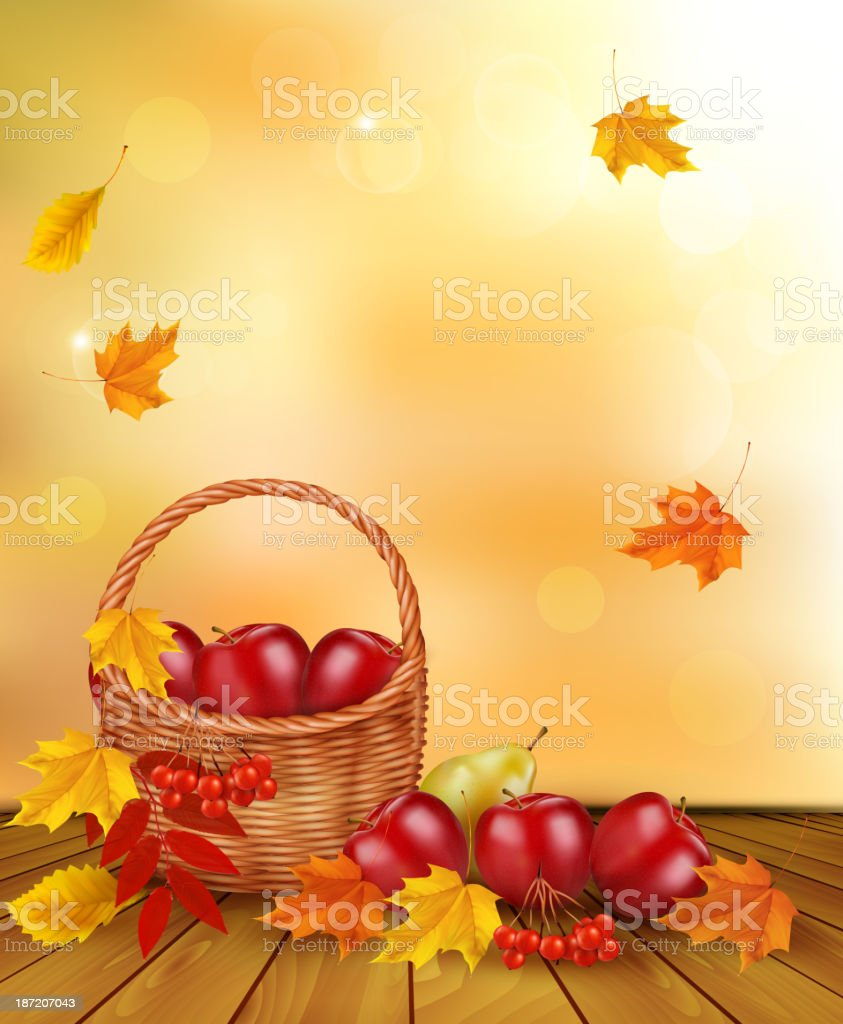 Autumn background with fresh fruit in basket. royalty-free stock vector art