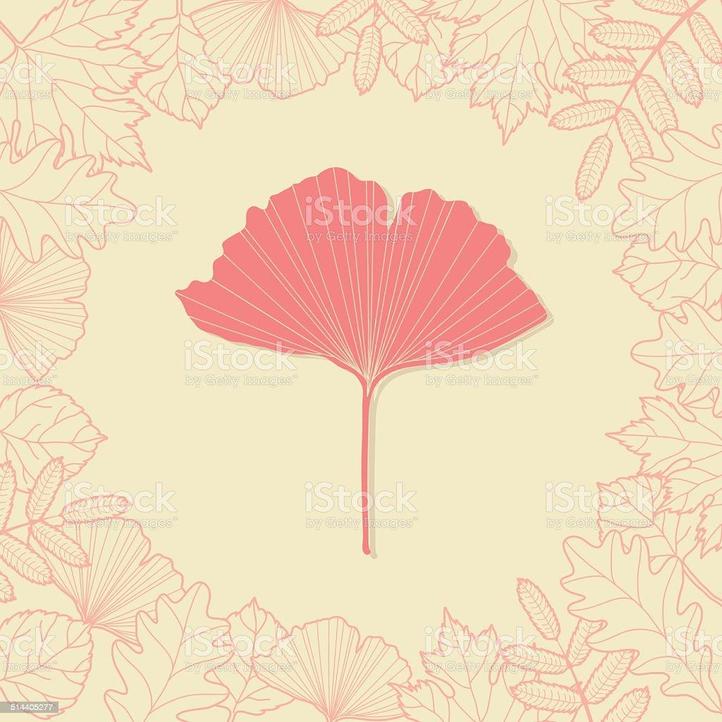 Autumn background with ginkgo leaf vector art illustration