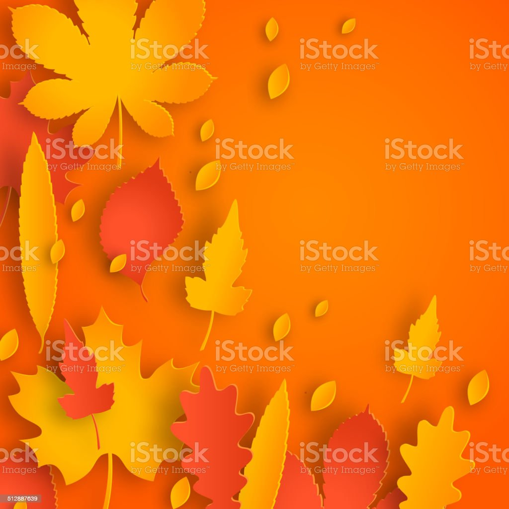 Autumn background with leaves. vector art illustration
