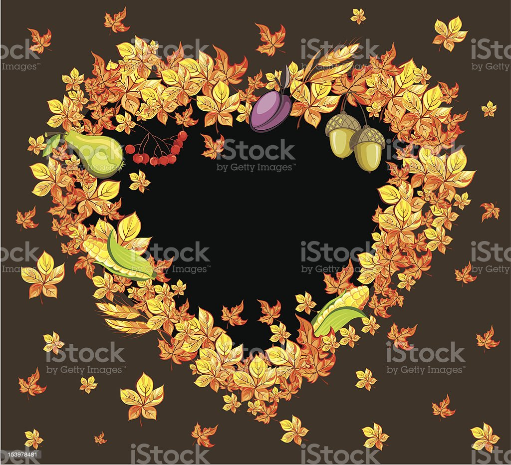 Autumn background with leaves,corns,wheat. royalty-free stock vector art