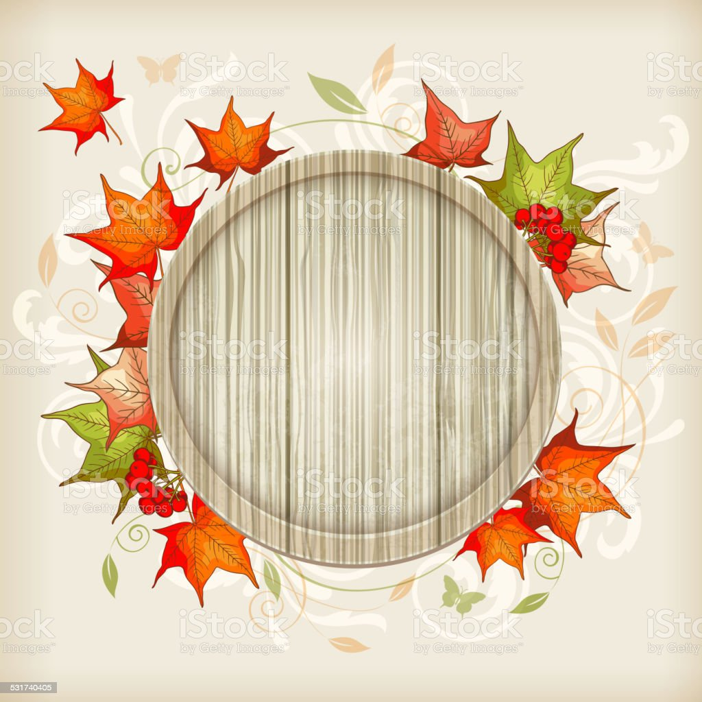 Autumn background with maple leaves vector art illustration
