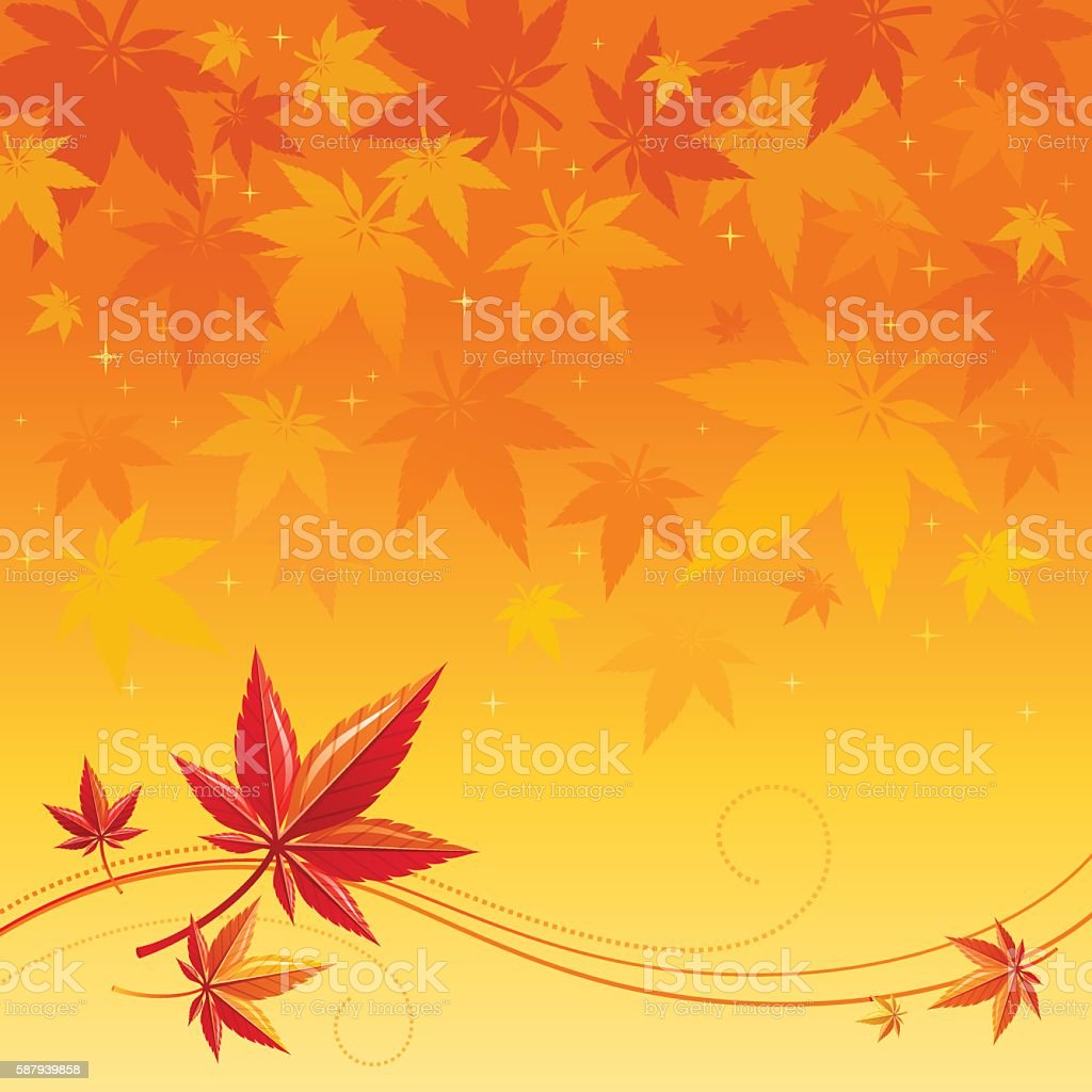 Autumn background with red, orange maple leafs, abstract wave lines vector art illustration