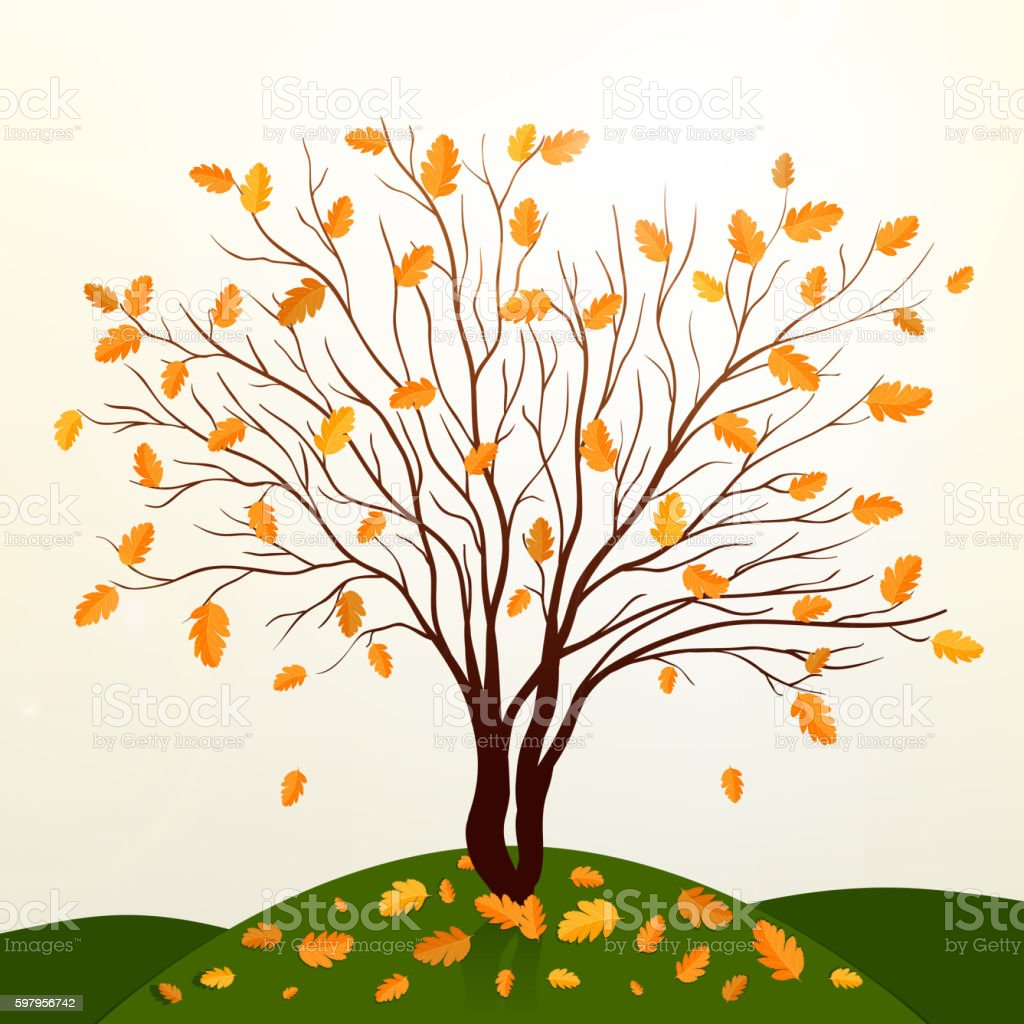 Autumn background with tree and grass vector vector art illustration