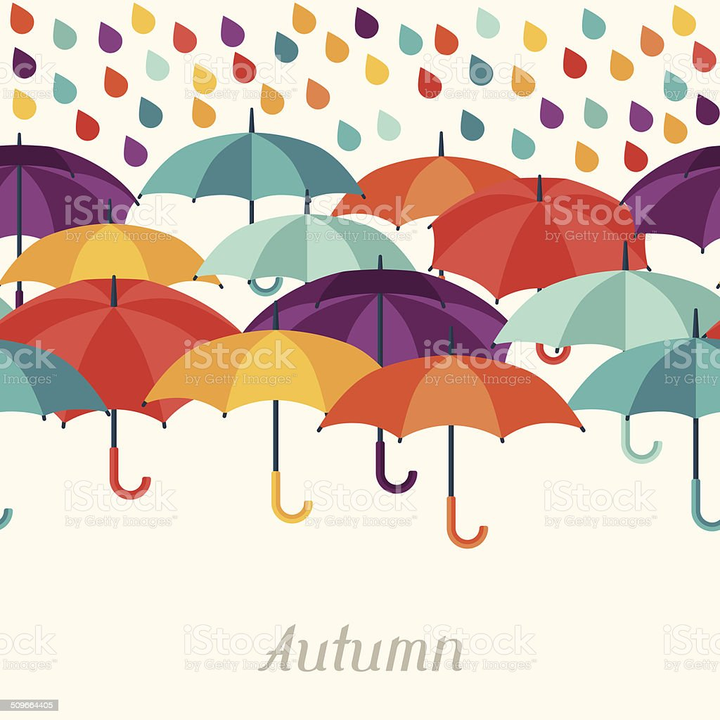 Autumn background with umbrellas in flat design style. vector art illustration