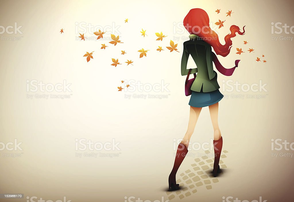 Autumn Background| Young Woman in wind royalty-free stock vector art