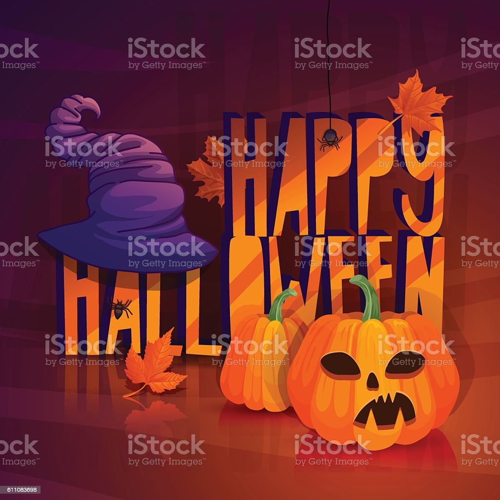 Autumn banner for a happy Halloween withscary jack pumpkin vector art illustration