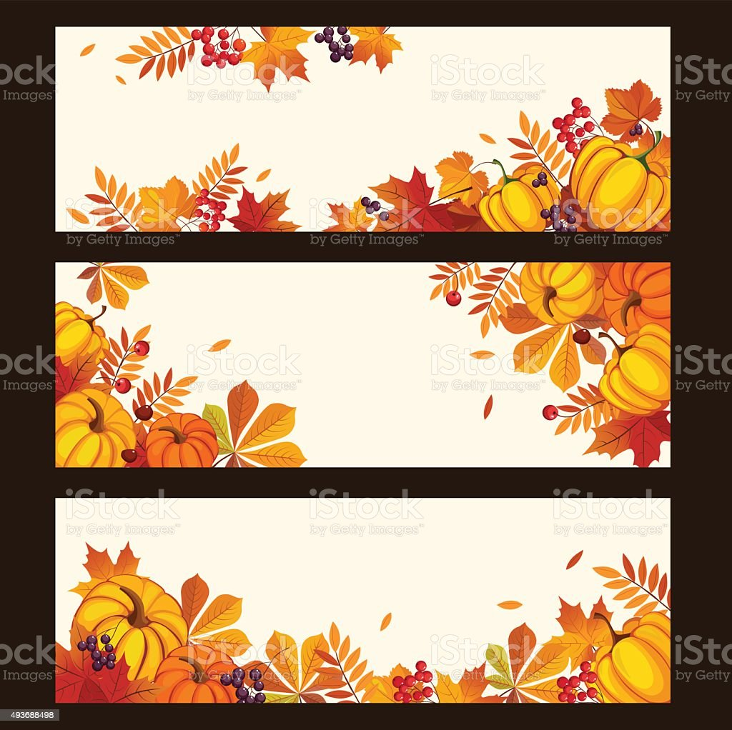 Autumn Banners with Colorful Leaves and Pumkins, Vector Illustration vector art illustration