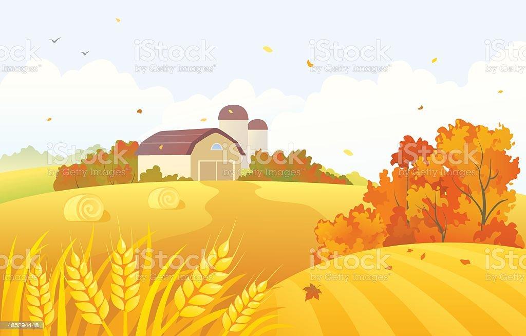 Autumn barn vector art illustration