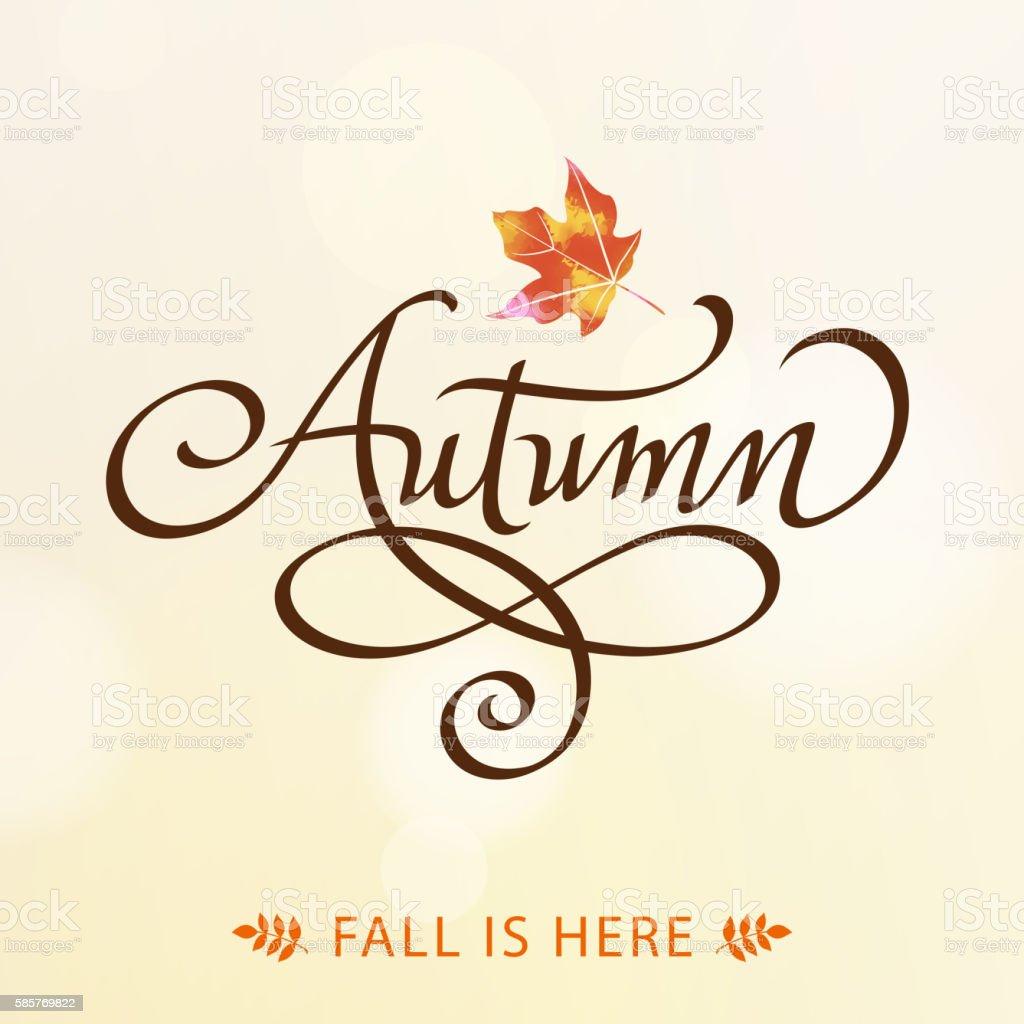 Autumn Calligraphy vector art illustration