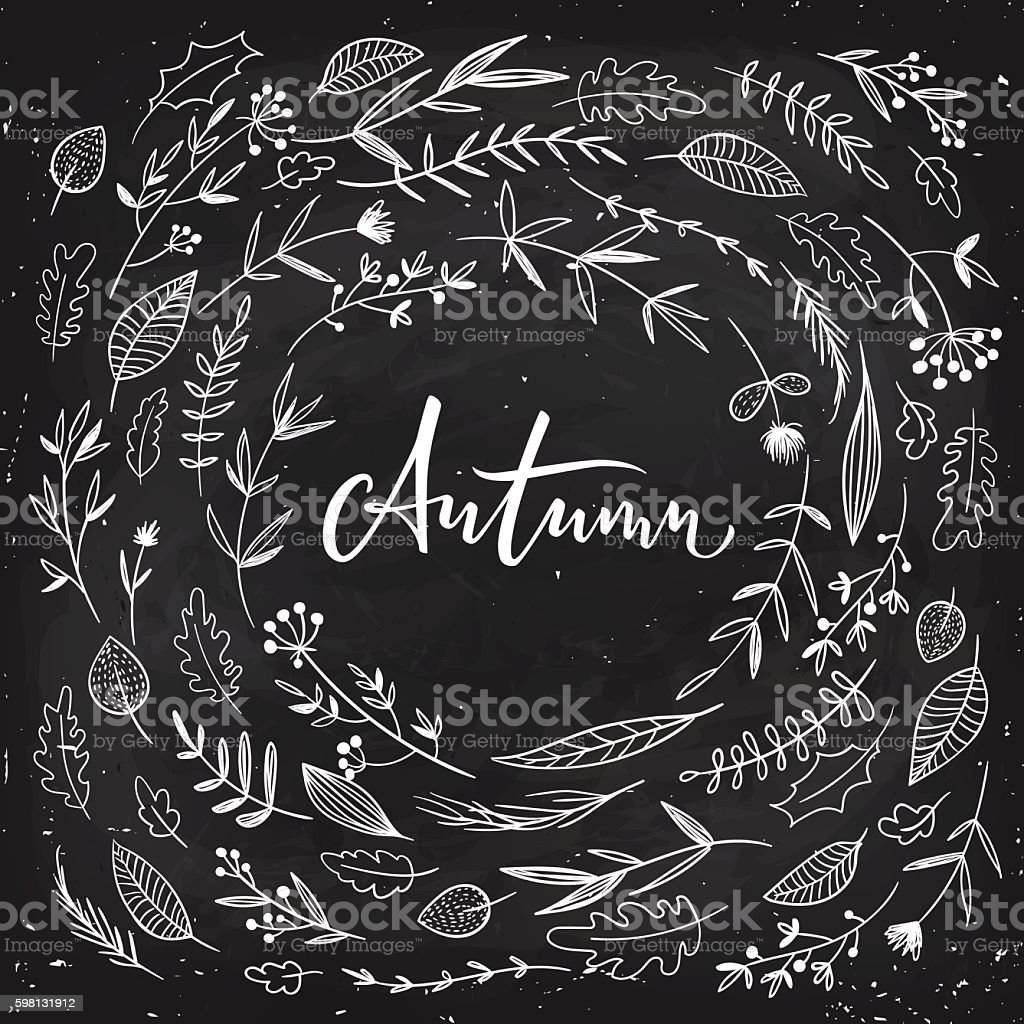 Autumn calligraphy with flowers and leaves on dark background vector art illustration