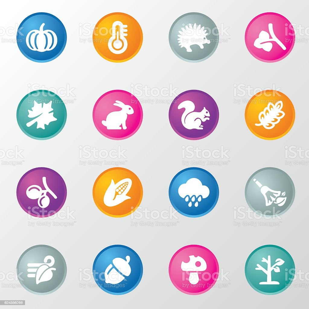 Autumn Circle Color Icons vector art illustration
