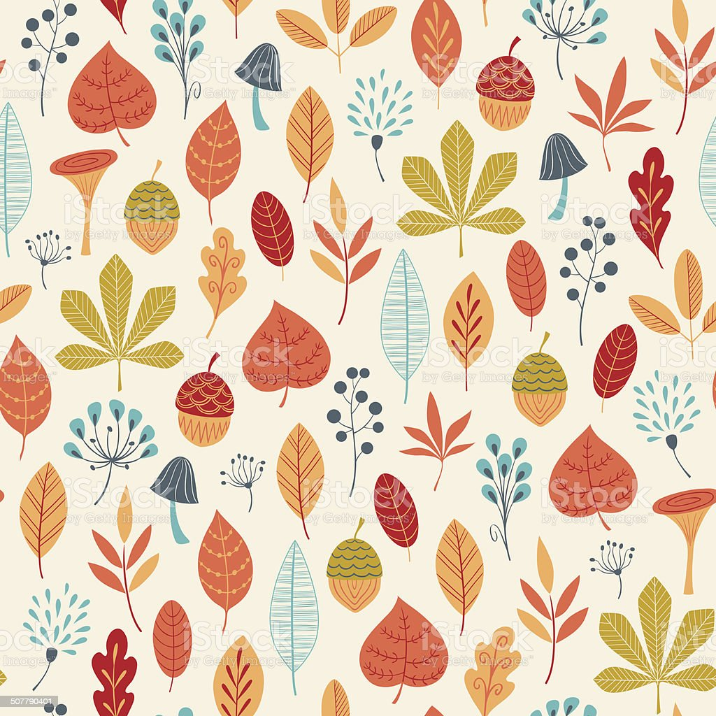 Autumn colors pattern vector art illustration