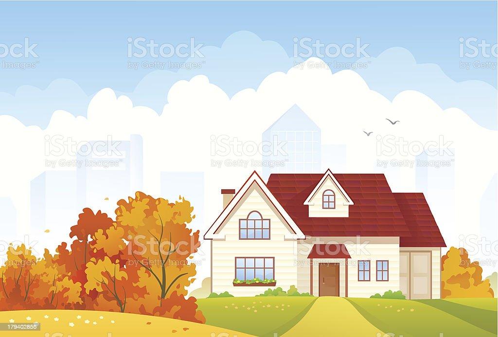 Autumn cottage vector art illustration