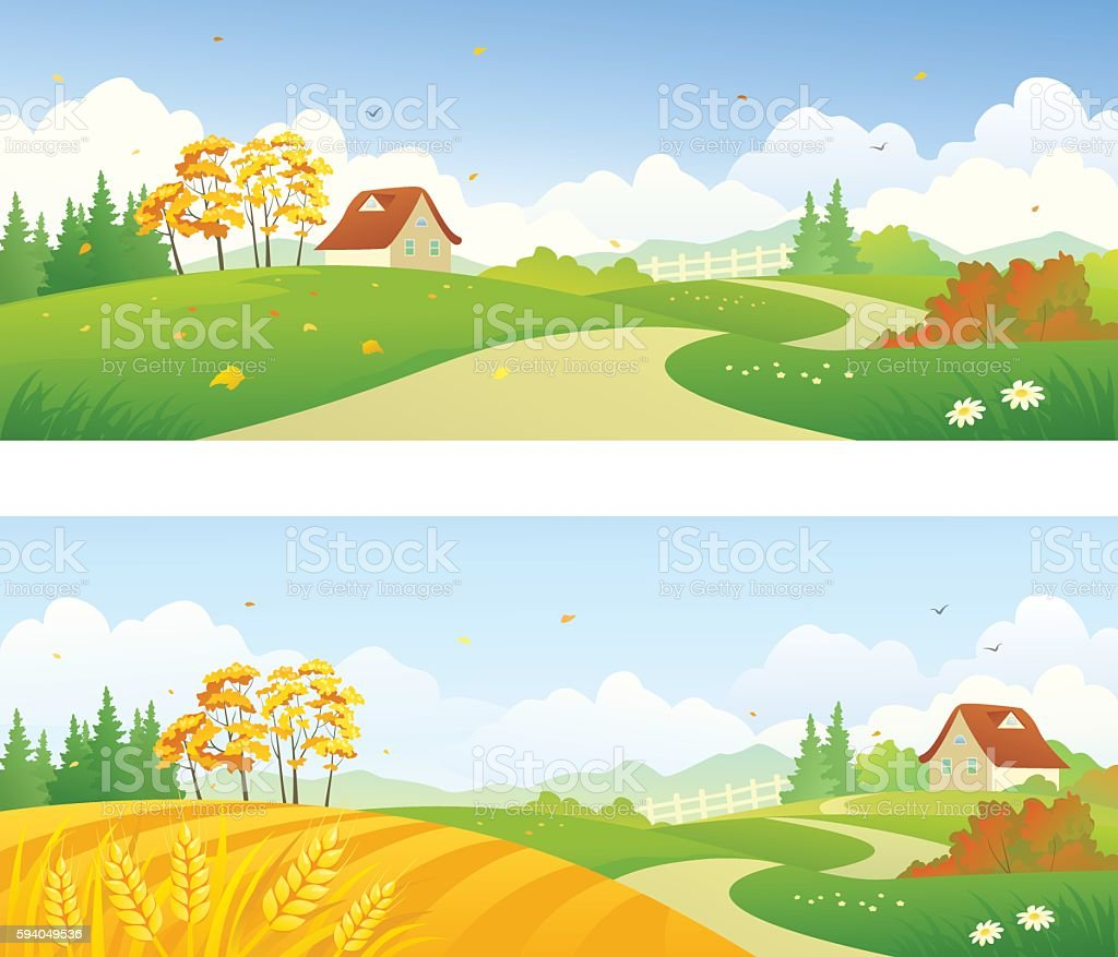 Autumn country banners vector art illustration