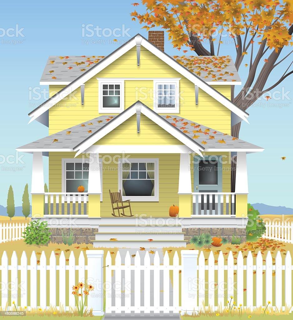 Autumn Country House vector art illustration