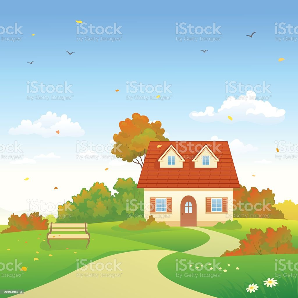 Autumn country house vector art illustration