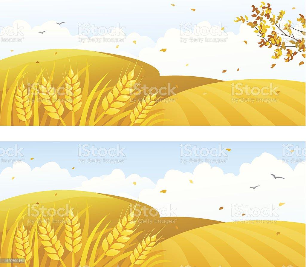 Autumn crop banners vector art illustration