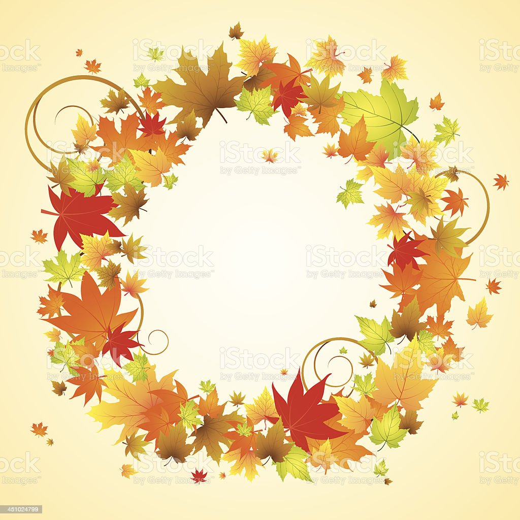 Autumn design. Wreath of colorful leaves. royalty-free stock vector art