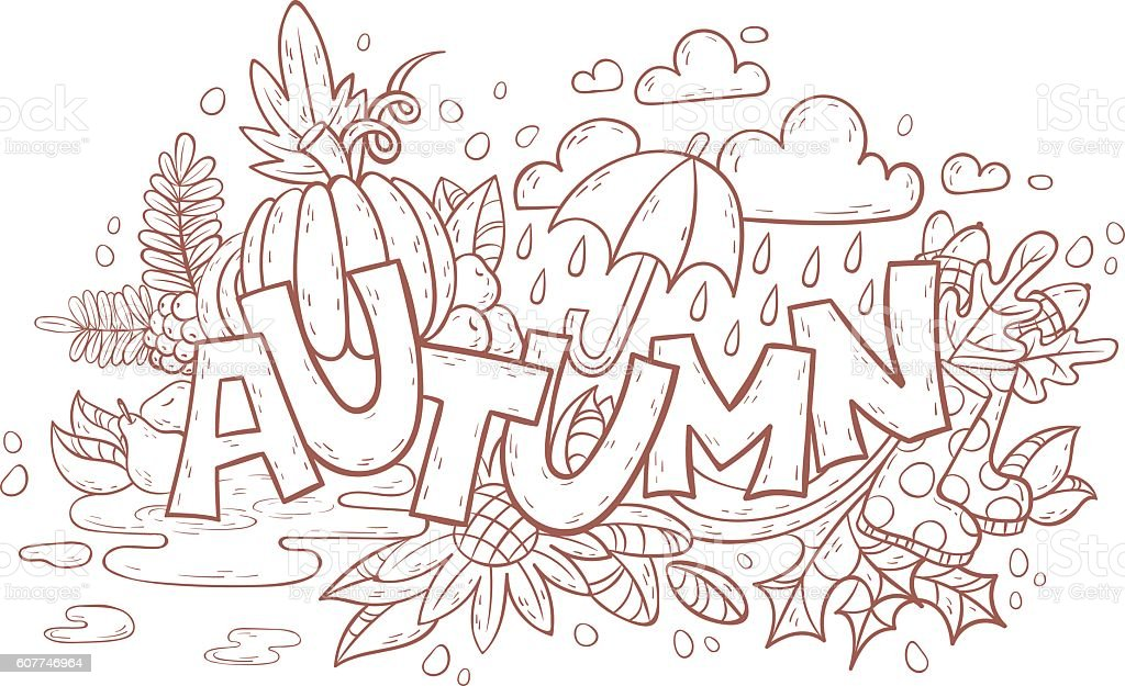 Autumn doodle page for adult coloring book vector art illustration