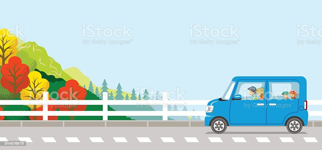 Autumn Drive, Young Family, Anonymity vector art illustration