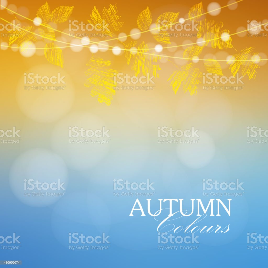 Autumn, fall background with maple, oak leaves and lights, vector vector art illustration