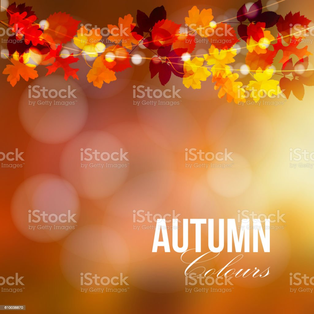 Autumn, fall card, banner. Garden party decoration. Colorful leaves. vector art illustration
