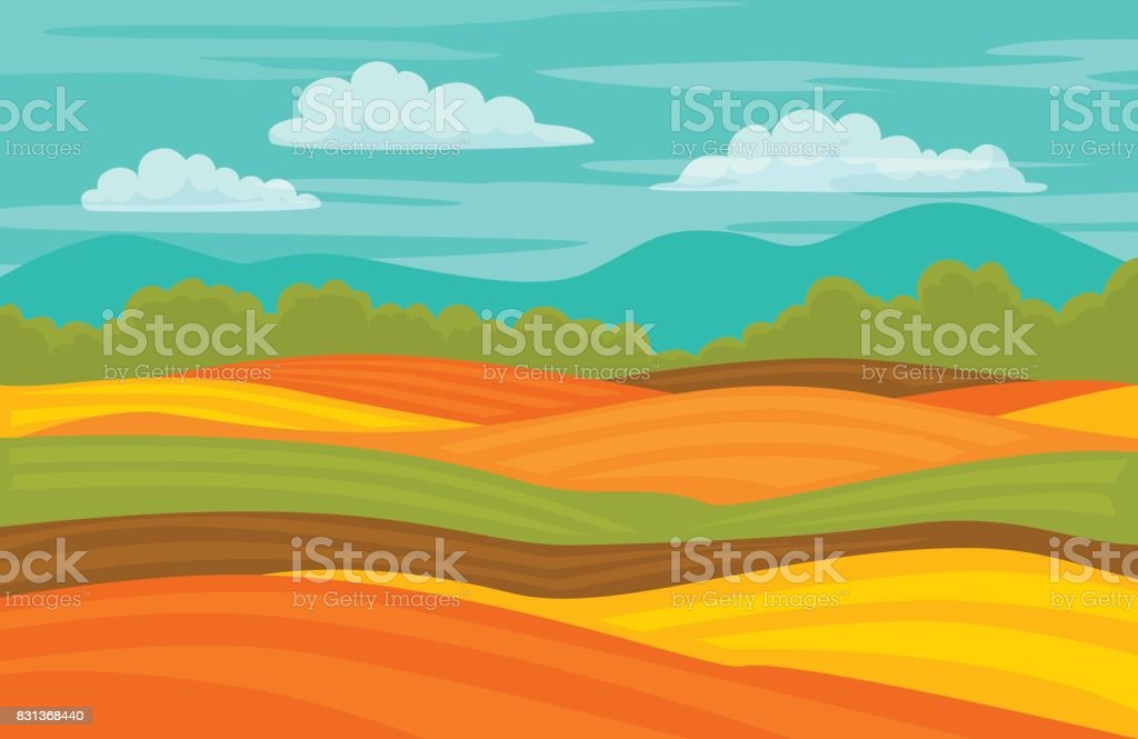 autumn fall colorful cute fields landscape background vector art illustration