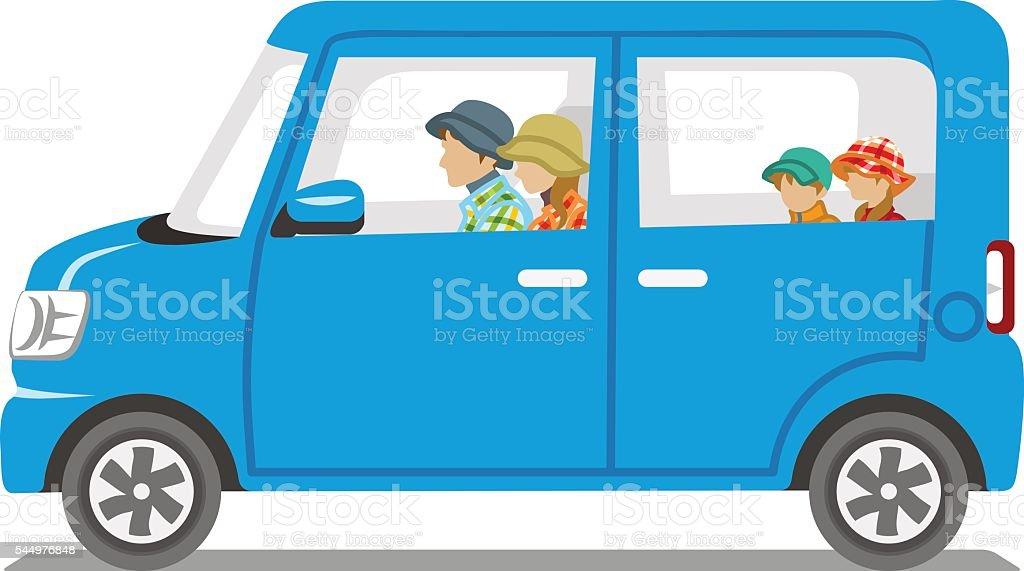 Autumn fashion Family riding the Blue car  - Isolated vector art illustration