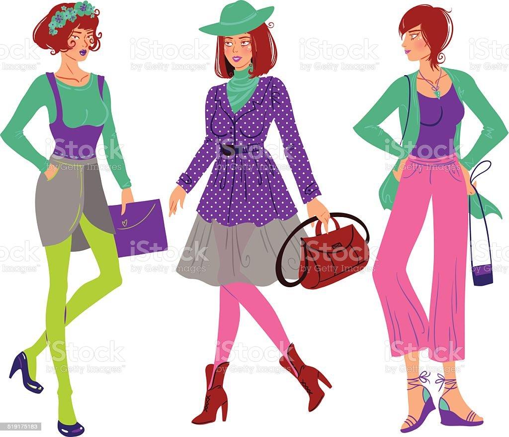 Autumn fashion girl set vector art illustration