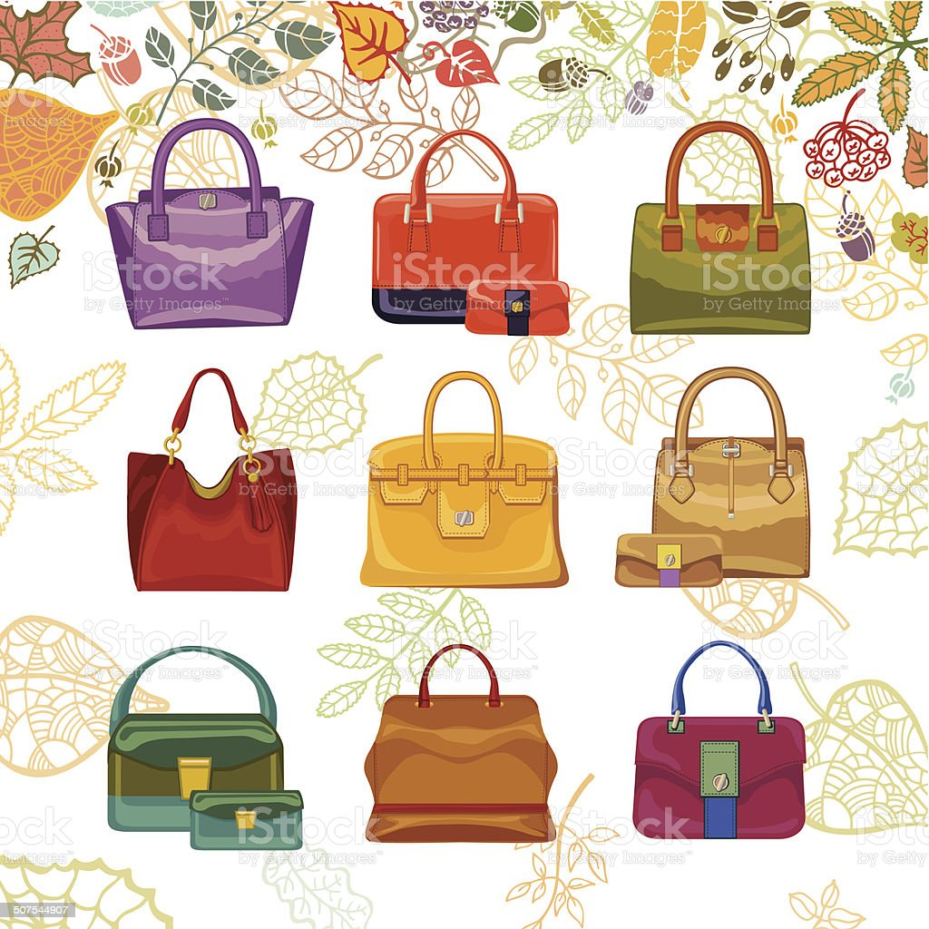 Autumn fashion. Women's handbags and leaves top vector art illustration