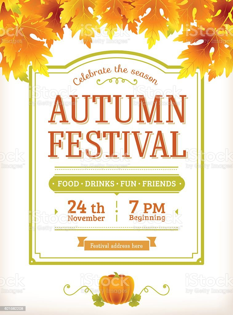Autumn festival invitation. Fall party poster. Thanksgiving day vector art illustration