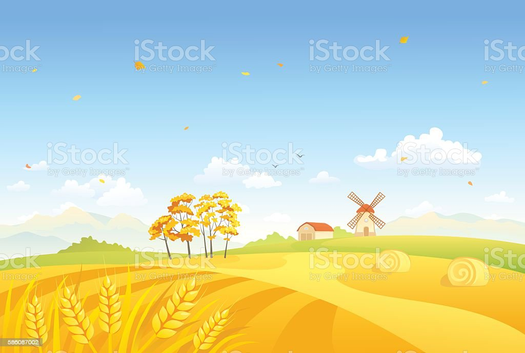 Autumn fields and windmill vector art illustration