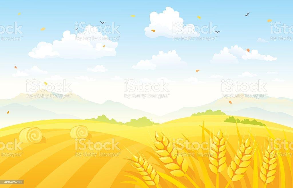 Autumn fields background vector art illustration
