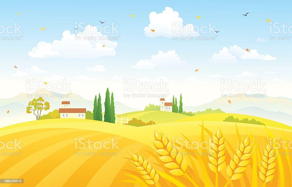 Autumn fields vector art illustration