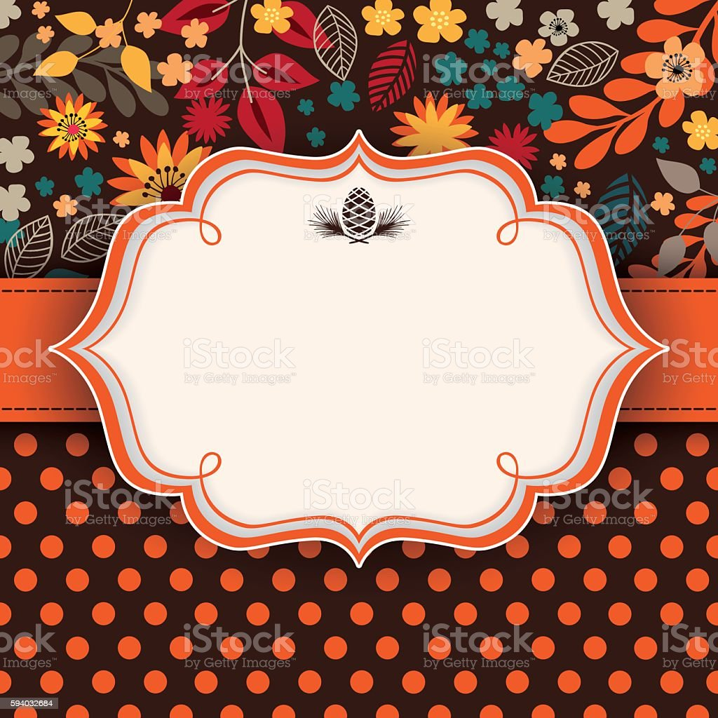 Autumn floral background with frame and ribbon in the middle vector art illustration