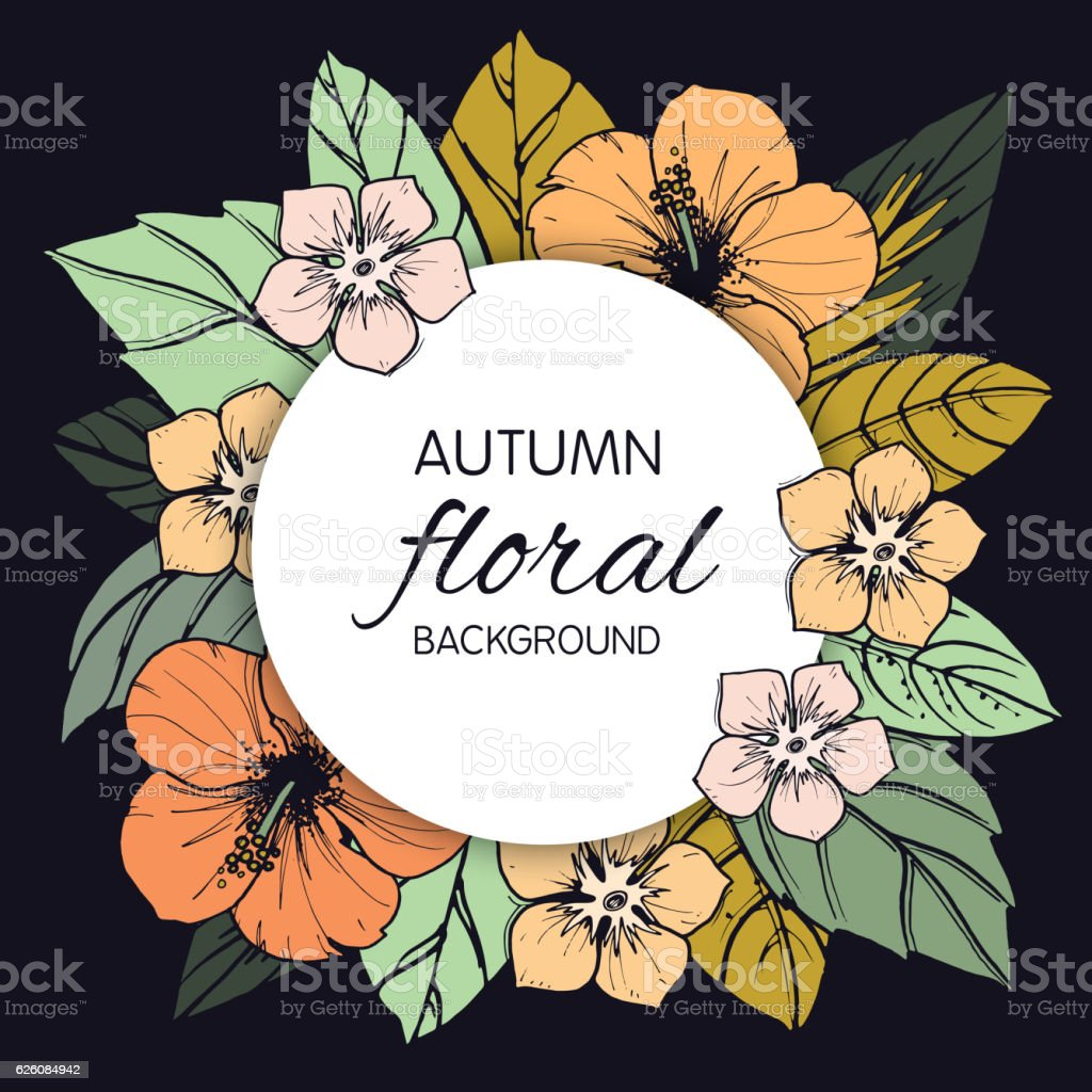 Autumn Floral Design With Hibiscus Flowers Stock Vector Art