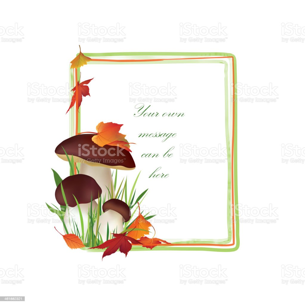 Autumn Floral Frame with mushrooms. royalty-free stock vector art