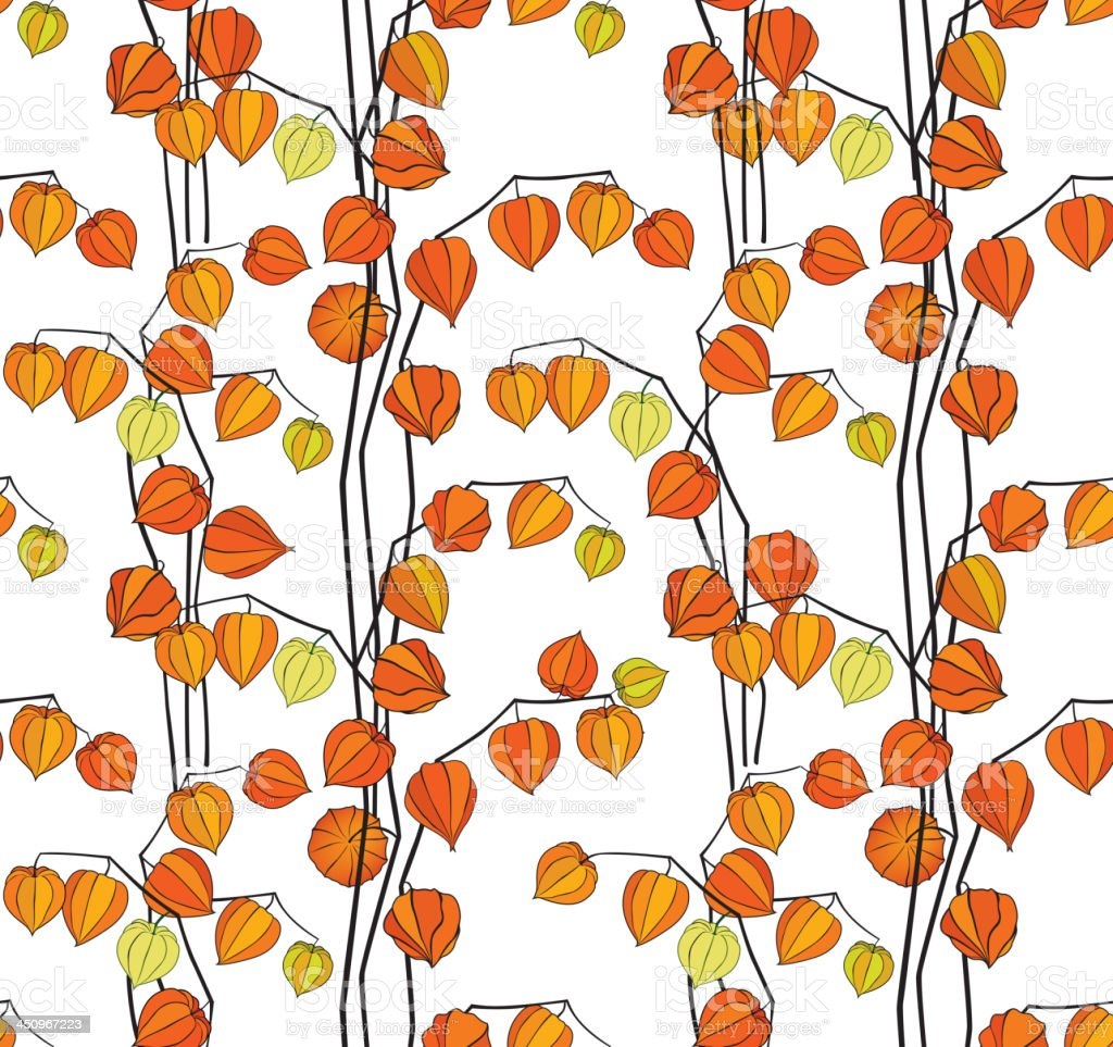 Autumn floral seamless pattern in Japanese style royalty-free stock vector art