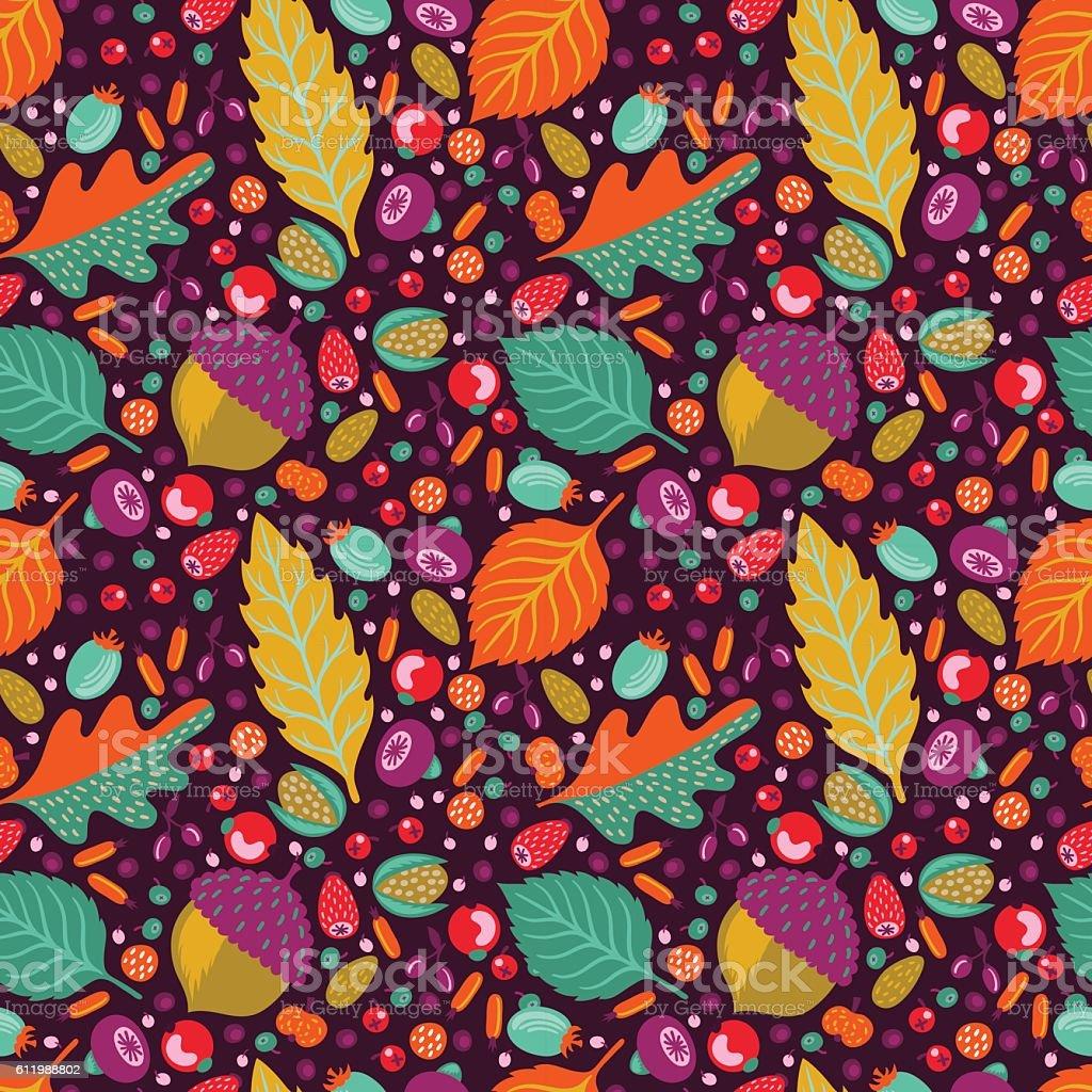 Autumn floral seamless pattern vector art illustration