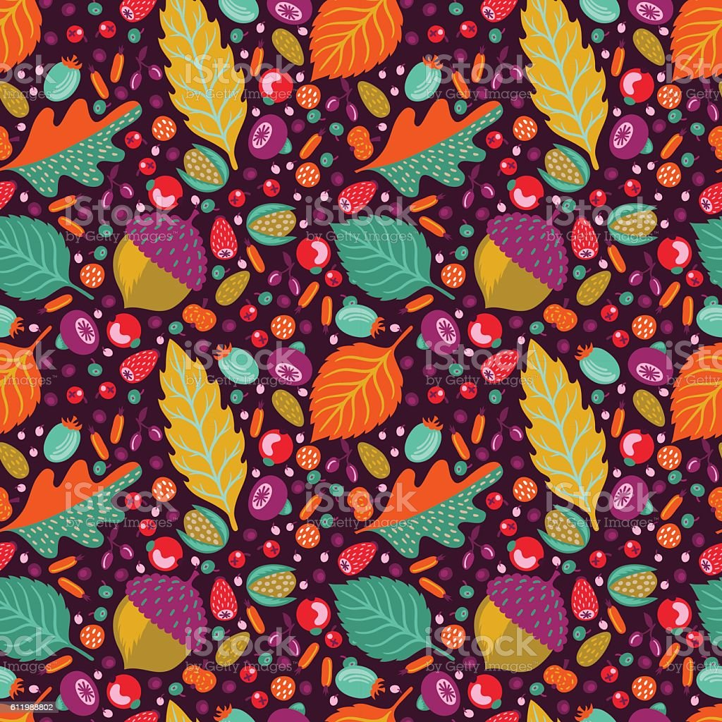 Autumn floral seamless pattern vector art illustration