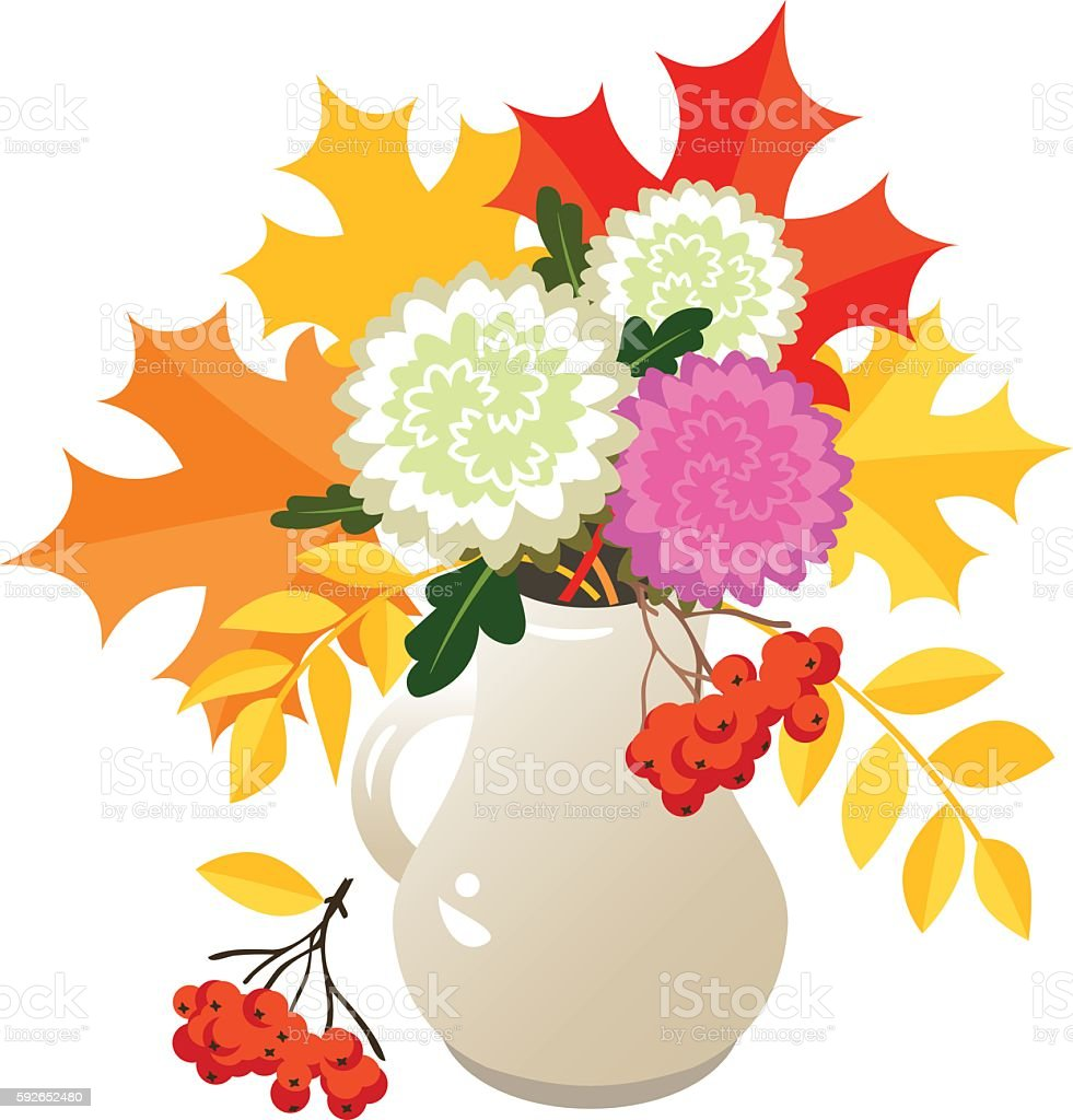 Autumn flowers and leaves vector art illustration